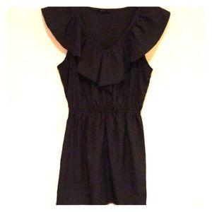 Black chiffon dress with ruffle on top